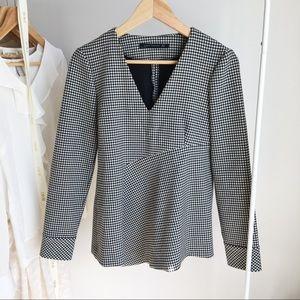 Zara Gingham V Neck Shirt
